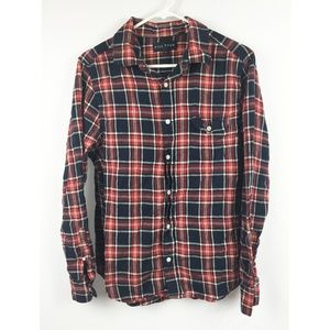 Red/Navy Blue Flannel Shirt Plaid Five Four Size L
